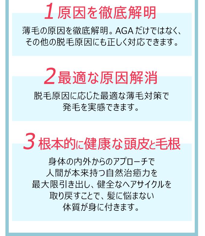 1.原因を徹底解明 2.最適な原因解消 3.根本的に健康な頭皮と毛根